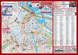 Подробная карта города Амстердам с отелями