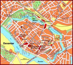 Карта Девентера с достопримечательностями