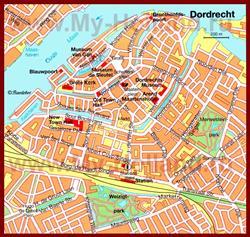 Карта Дордрехта с достопримечательностями