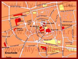 Карта Энсхеде с достопримечательностями