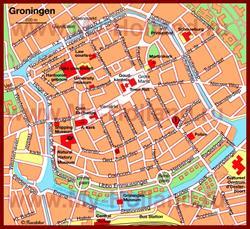 Карта Гронингена с достопримечательностями