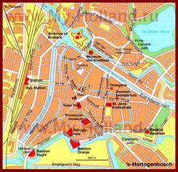 Карта Хертогенбоса с достопримечательностями