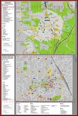Туристическая карта Хилверсюма с отелями, ресторанами и достопримечательностями