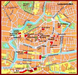 Карта Леувардена с достопримечательностями