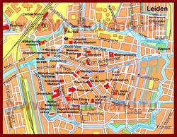 Карта Лейдена с достопримечательностями