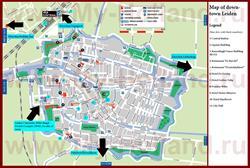 Туристическая карта Лейдена с отелями и ресторанами