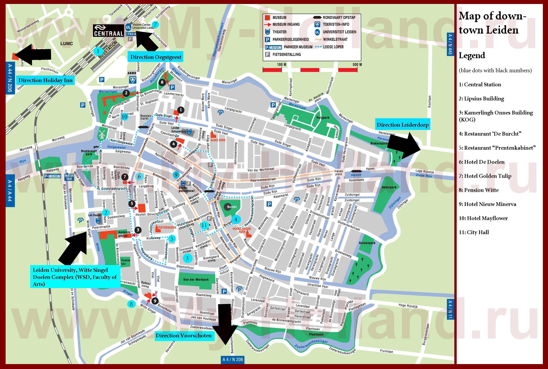 Туристическая карта лейдена с отелями