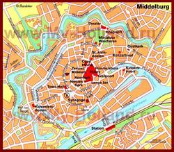 Карта Мидделбурга с достопримечательностями
