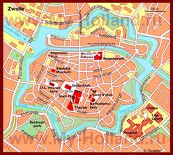 Карта Зволле с достопримечательностями