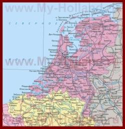 Карта Нидерландов на русском языке с городами